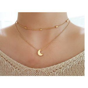Layered Moon Choker Necklace (Gold)